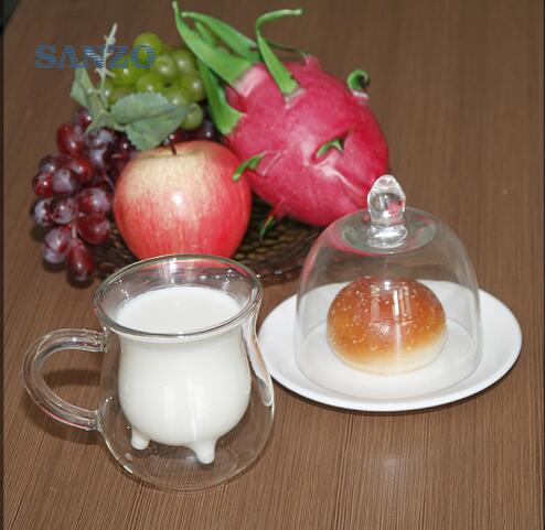 2016 heat resistant double wall glass creative mug milk bottle dairy cow milk glass coffee mug 250ml(China (Mainland))