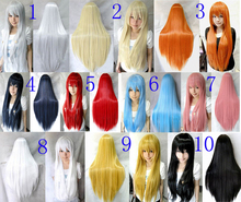2016 New Fashion Styled 80cm Long Straight Party Synthetic Hair Cosplay Costume Wig 10 color(China (Mainland))