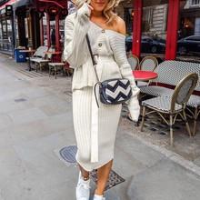 BerryGo שני חלקים נשים סרוג שמלת סט אלגנטי סתיו חורף סוודר שמלת חליפות ארוך שרוול כפתור sashes טהור חצאית חליפה(China)