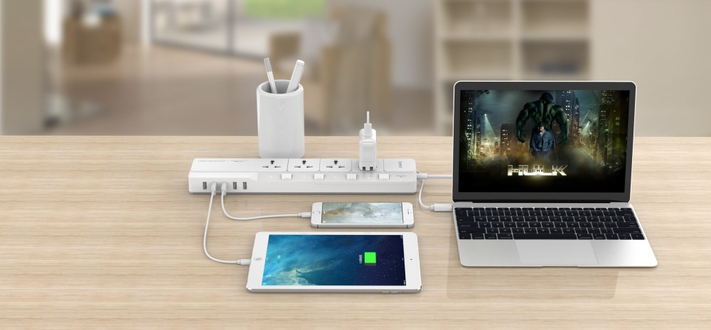 ORICO OSJ-4A5U Home Office Surge Protector With 5 USB Charger 4 Universal AC Plug Multi-Outlet Travel Power Strips -White
