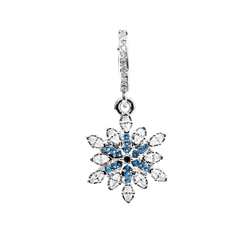 Hot Sale 925 Sterling Silver Bead Charm Fashion Blue Snowflake Crystal Pendant Beads Fit DIY Pandora Bracelets & Bangles YBD214(China (Mainland))