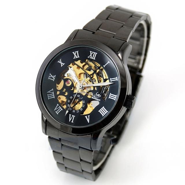 Полный сталь self-ветер Automatical механический аналоговый нержавеющей скелет мужские до запястья часы