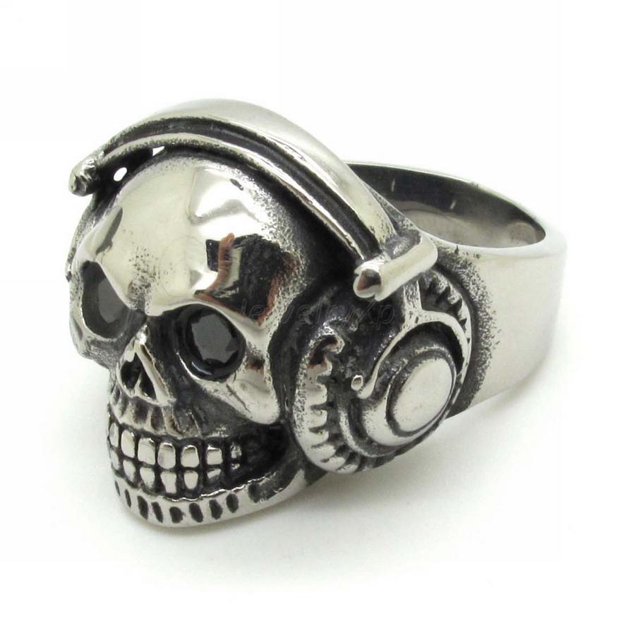 Hot Fashion Headset Skull Ring,316L Stainless Steel Mens headphone music skull Rings Rock Punk Jewelry(China (Mainland))