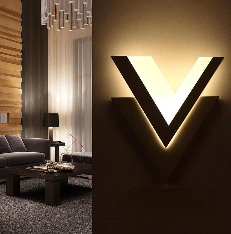 Led wall lamp bedside lamp bedroom modern minimalist living room lamp aisle corridor creative acrylic v-shaped wall sconce YF-66<br><br>Aliexpress