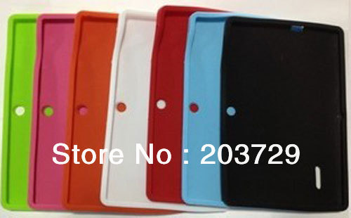 Wholesale Newest Soft Silicone Case Skin Cover For Allwinner A13 Q8 Q88  Tablet PC EMS DHL FREE SHIPPING 100pcs/lot