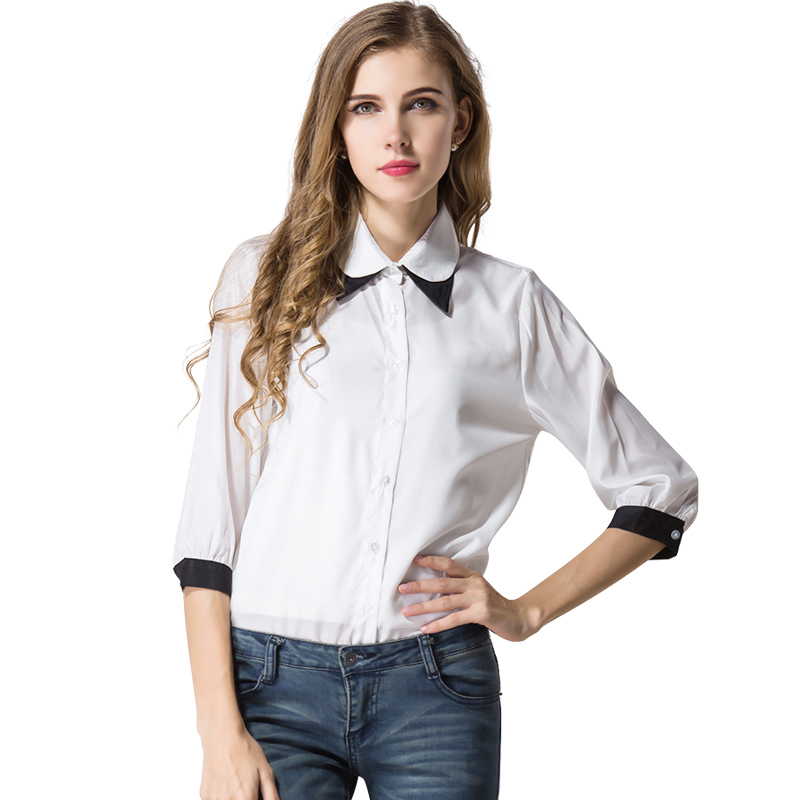 Fashion Color Patchwork Collar Women Chiffon Shirt 2016