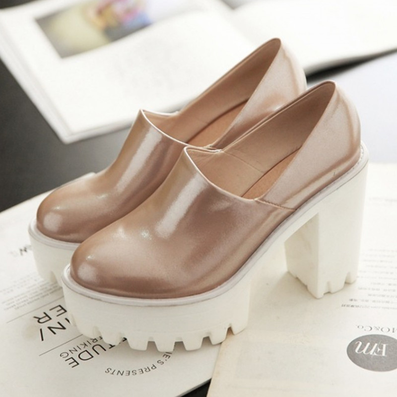 High Heels Shoes Women Platform Chunky Spring Autumn Round Toe Woman White Pink Blue Small Size 34-39