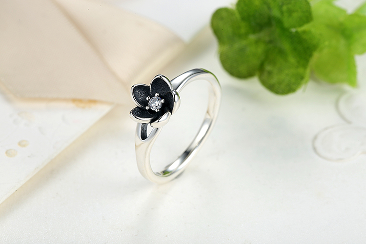 Top Quality 925 Sterling Silver Mystic Floral Stackable Wedding Rings With  CZ & Black Enamel For Women Fine Jewelry XCH7154 - us766