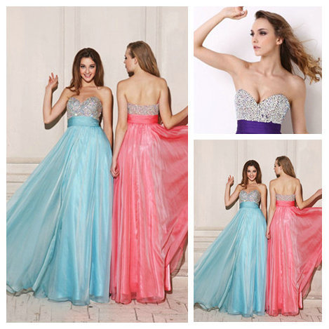 Delightful Empire Slim Sweetheart Beaded Chiffon Full Length Indian Style Prom Dresses 2016 Custom Made(China (Mainland))