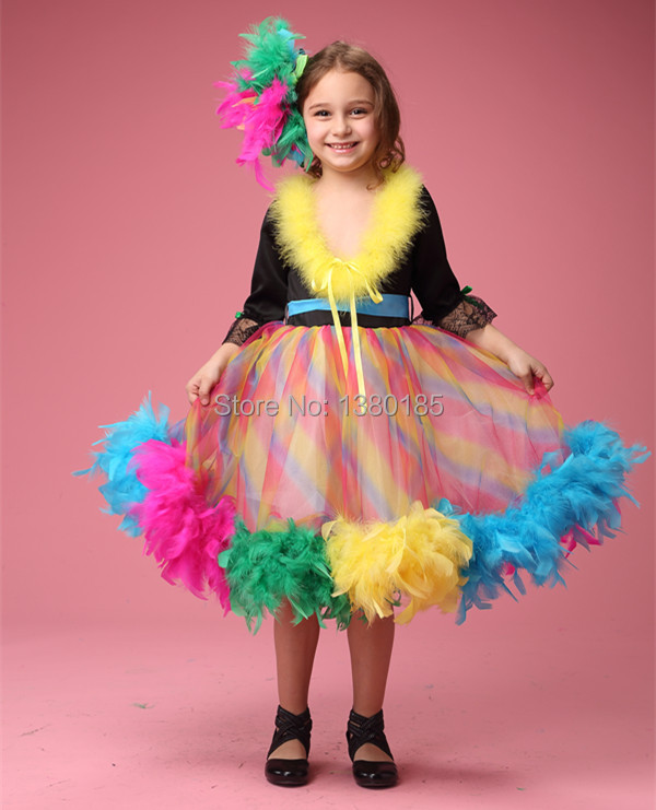 1Pcs rainbow feather birthday tutu dress for kids with flower feather evening dress(China (Mainland))
