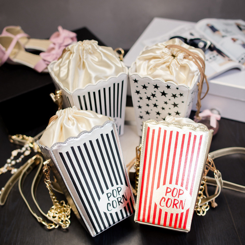 Personality chain handbag Creative popcorn bag, Japan and South Korea fashion star sweet stripes single shoulder bag<br><br>Aliexpress