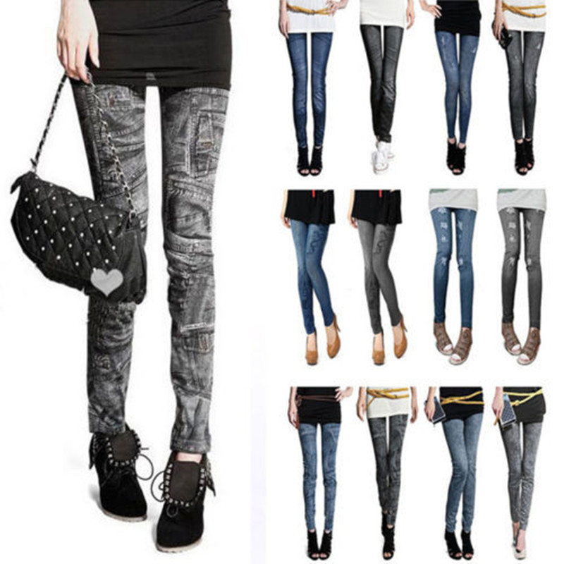 Women Stretch Denim Jean Look Skinny Leggings Slim Jeggings Pants Sport Academies American Apparel Faux Denim Pencil Pants(China (Mainland))