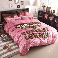 Fashion Pink Vitoria Four Pieces Bedding Sets Super Soft Short Plush Velvet Leopard Bedclothes Secret Black White Home Textile(China (Mainland))