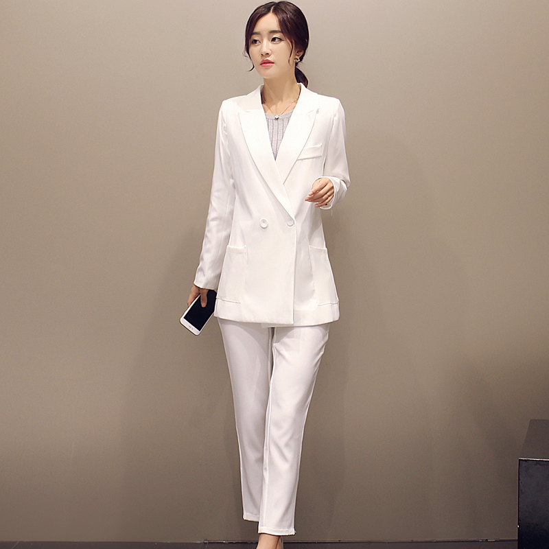New 2015 Autumn Formal Women's Pant Suit Elegant White ...