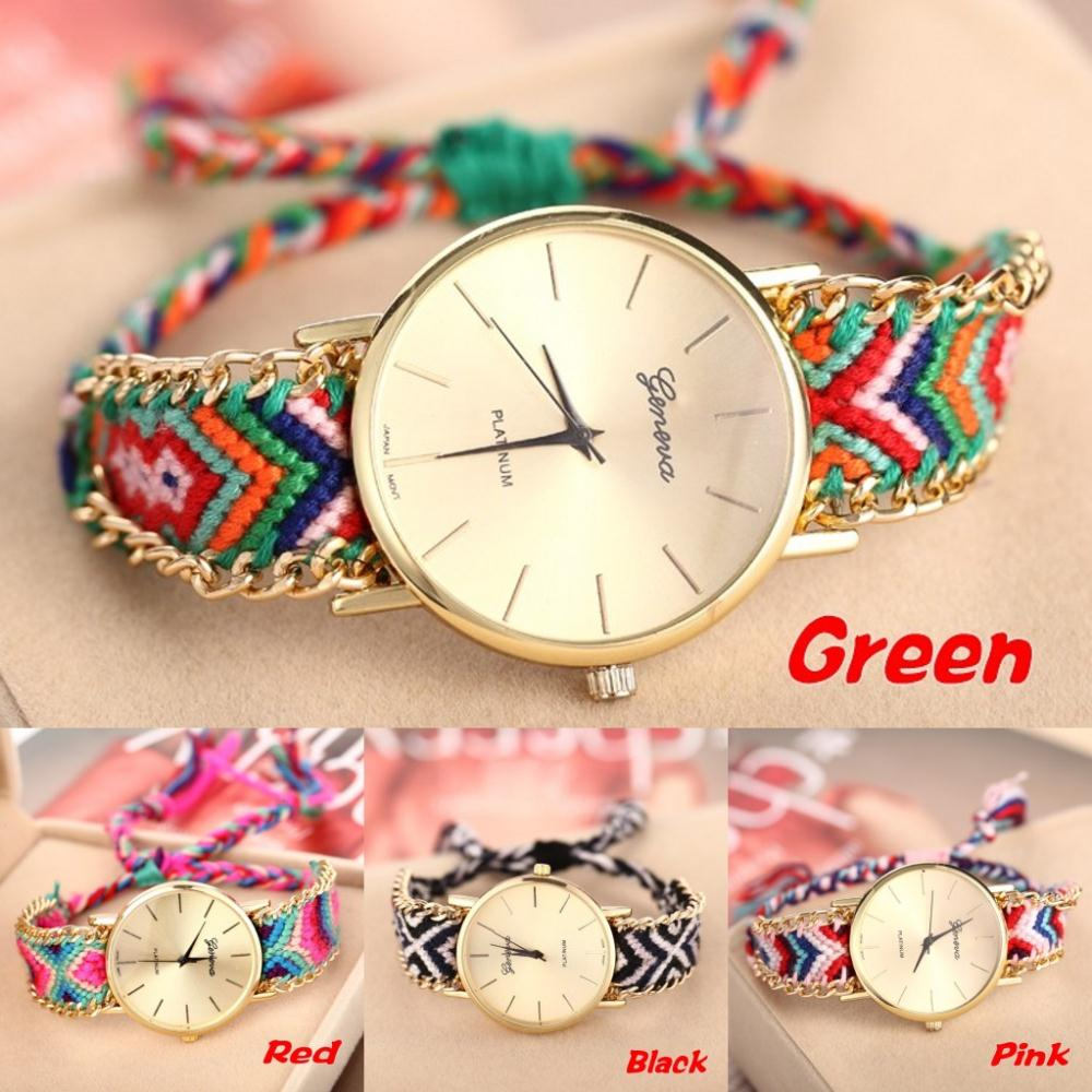 Hot Handmade Braided Rope Watch Geneva Watch Fashion Casual Watch Women Bohemia Thread Quartz Wristwatches Relojes