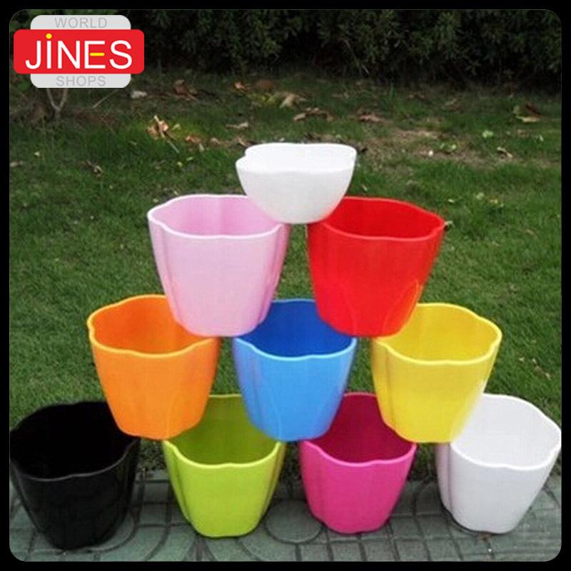 4pcs lot flower pot free shipping planters multicolor plastic nursery pots flowerpot with tray. Black Bedroom Furniture Sets. Home Design Ideas