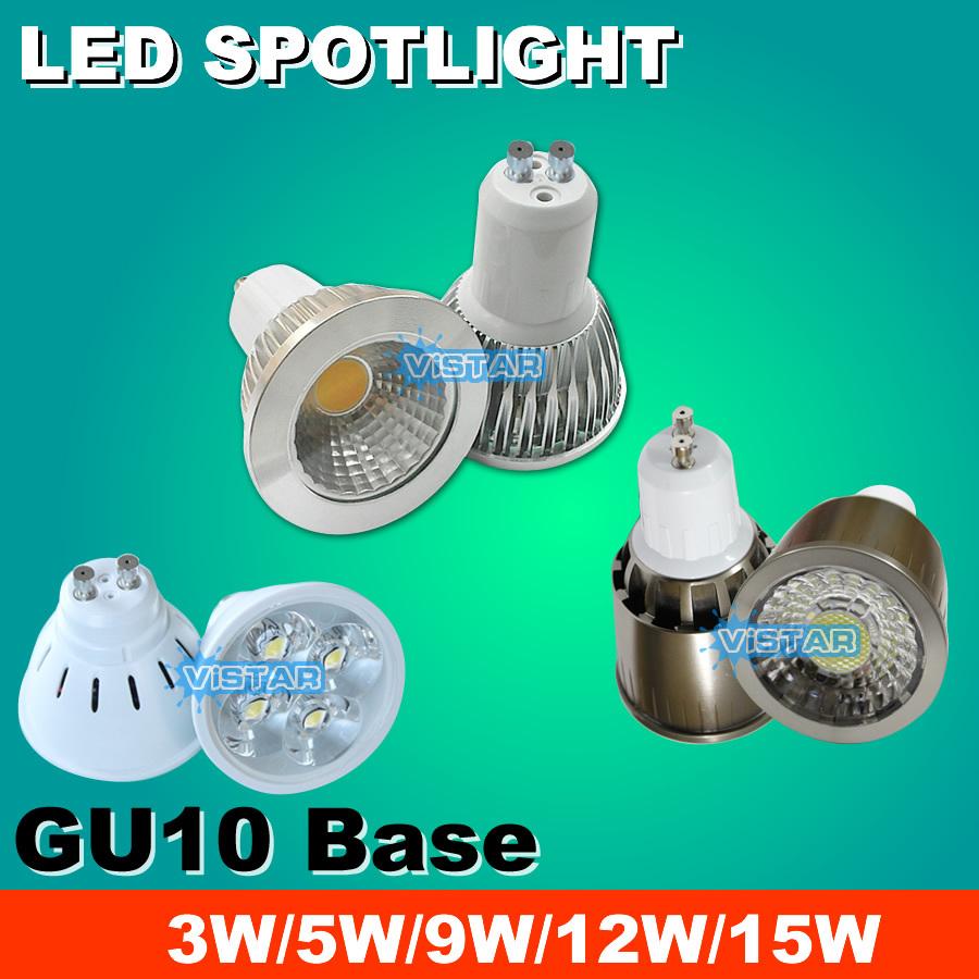 3W 5W 9W 12W 15W led spotlights led lamp GU10 Spot light 110v 220v (85v-240v) Warm white Cold white ultra bright free shipping(China (Mainland))