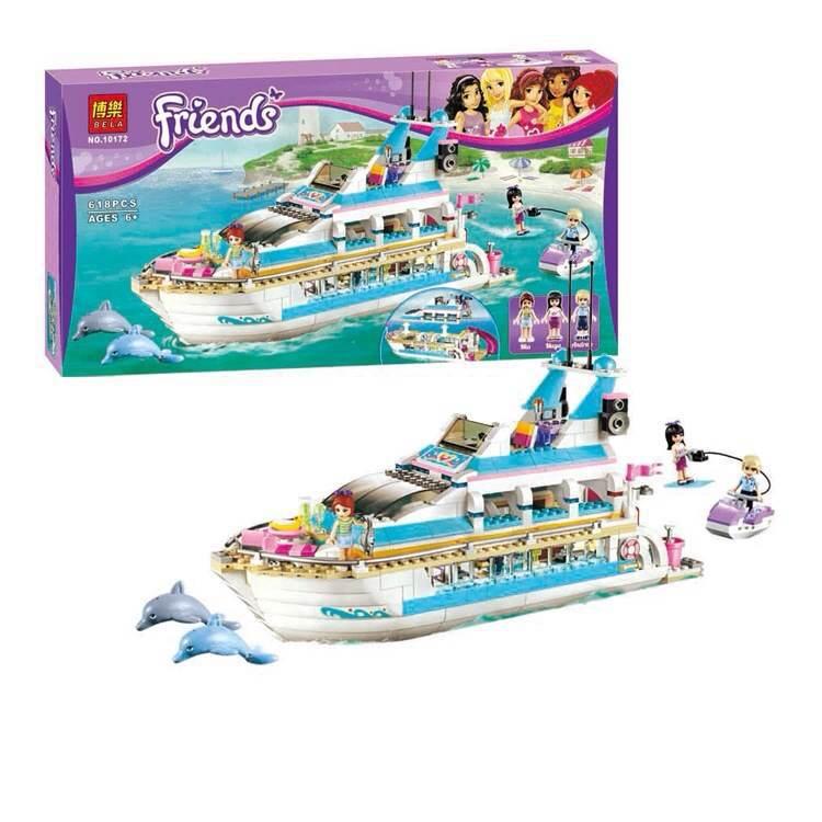 New Dolphin Yachts Toy Authentic constructing blocks BELA 10172 Pals Suitable With Legoe L41015 618pcs/set ship free transport