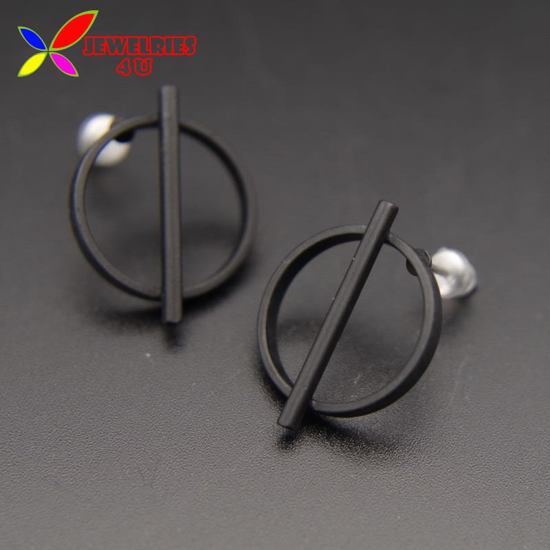 2016 Geometric Ear Studs Fashion Designer Black Coated Circle Stick Simple Stud Earrings For Women Brincos Grandes(China (Mainland))