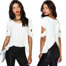 2015 Women Fashion Chiffon Blouse Sexy Wrap Back Cutout Women Short Sleeves O Neck Casual Tops White(China (Mainland))