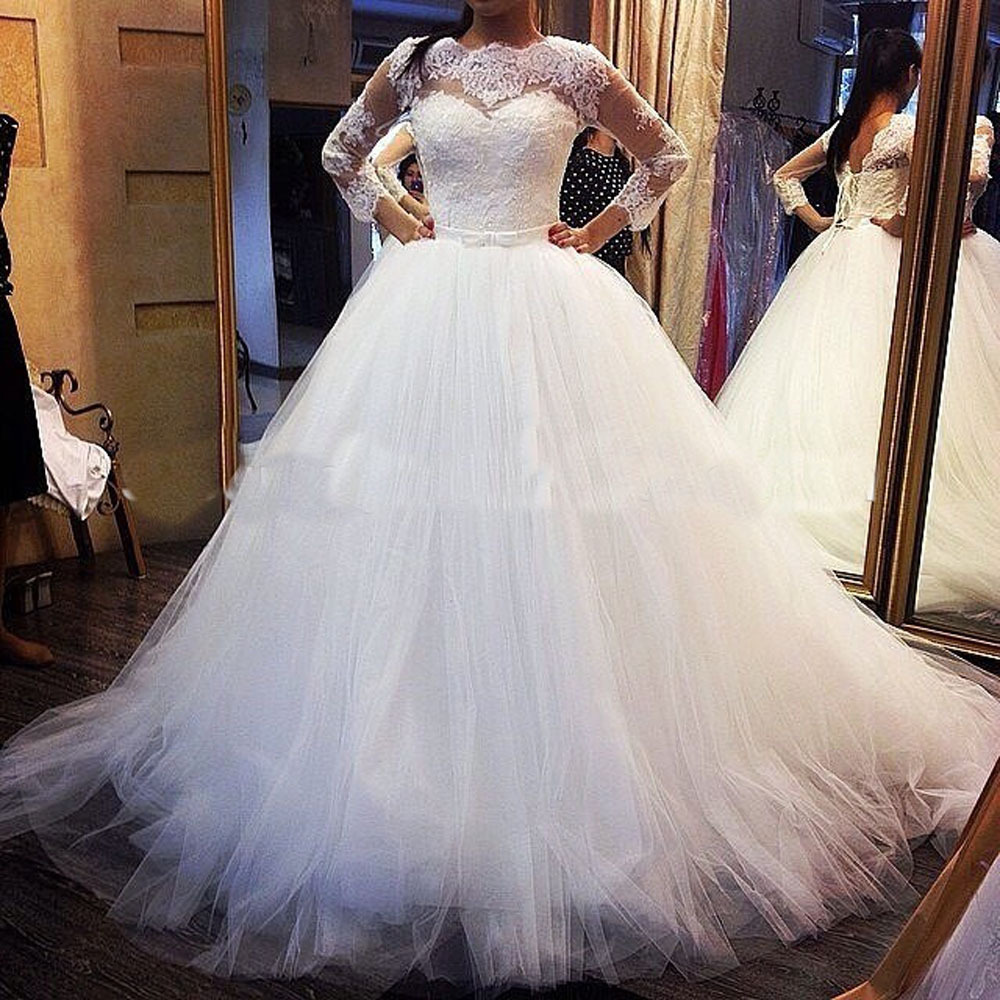 2015 new design tulle ball gown wedding dresses long for Tulle wedding dress with sleeves
