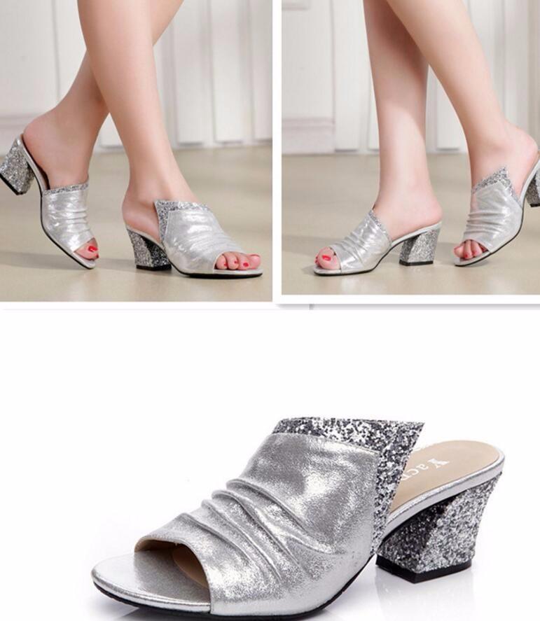 Summer Elegant Gold Sliver Black Women Glitter 5cm Heels Slippers Wrinkle Genuine Leather Upper Women Big Size Sandals Shoes