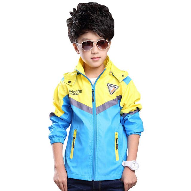 2016 Новое прибытие осень спортивная куртка для детей мальчик дети полный рукав ветровка с капюшоном мода пальто