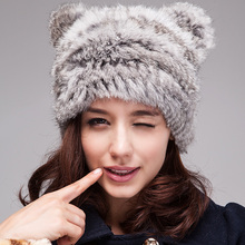 Rabbit fur hat han edition tide female autumn/winter days Lovely warm winter hats Cartoon cat ear hat