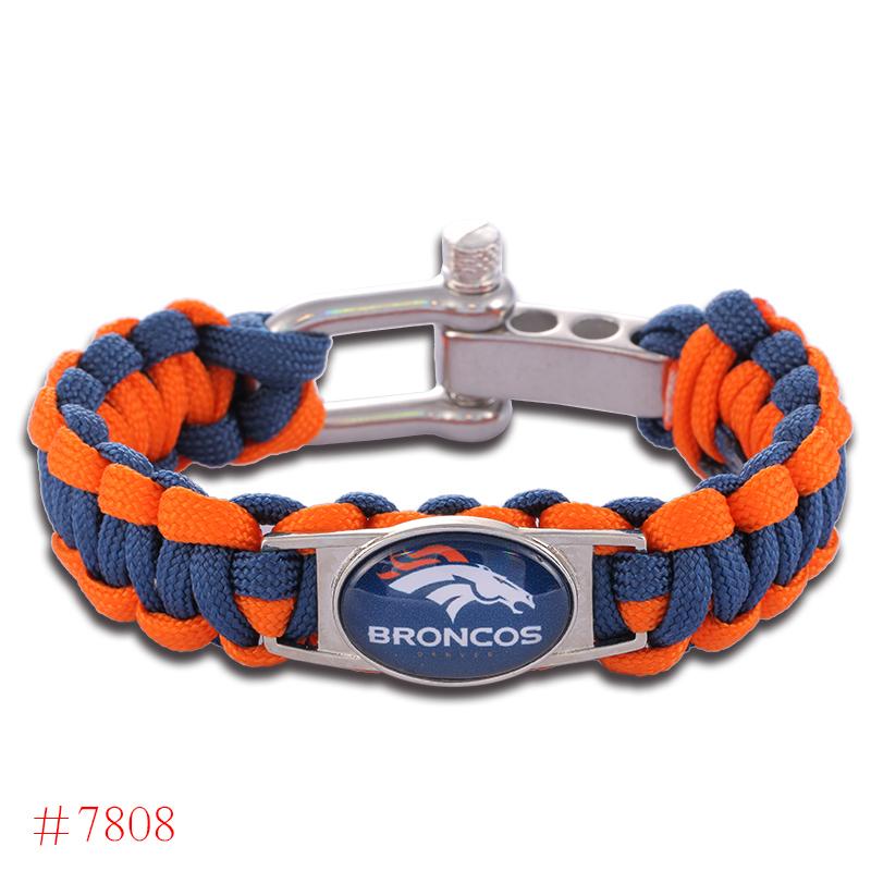 NFL Denver Broncos Paracord Bracelet Adjustable Survival Bracelet Football Bracelet , Drop Shipping! 6Pcs/lot!(China (Mainland))