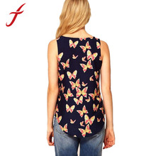 2015 New Arrival 1PC Women Butterfly Print Sleeveless Chiffon Tank Top Shirts Crew Vest Feitong