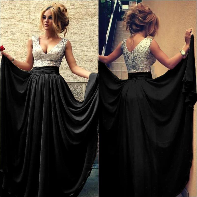 Black sequin long dress uk