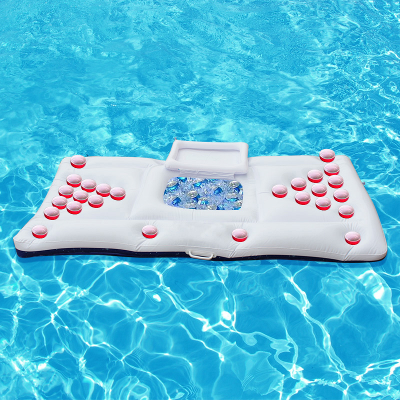 170cm 67inch 28 Cup Holder Inflatable Beer Pong Table Pool Float 2017 New Summer Water Party Fun Air Mattress Ice Bucket Cooler(China (Mainland))