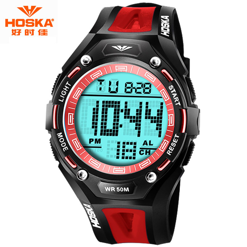 Watch Women Brand 2016 HOSKA Swimming Waterproof LED Display ABS Plastic Wrist Band Digital-Watch montre femme de marque H010(China (Mainland))