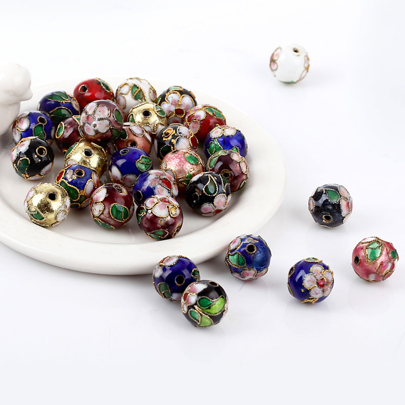 200pcs/lot 8MM Mixed Assorted Cloisonne Charms Beads Carve Flower Filigree Cloisonne Beads Fit Diy Bead <br><br>Aliexpress