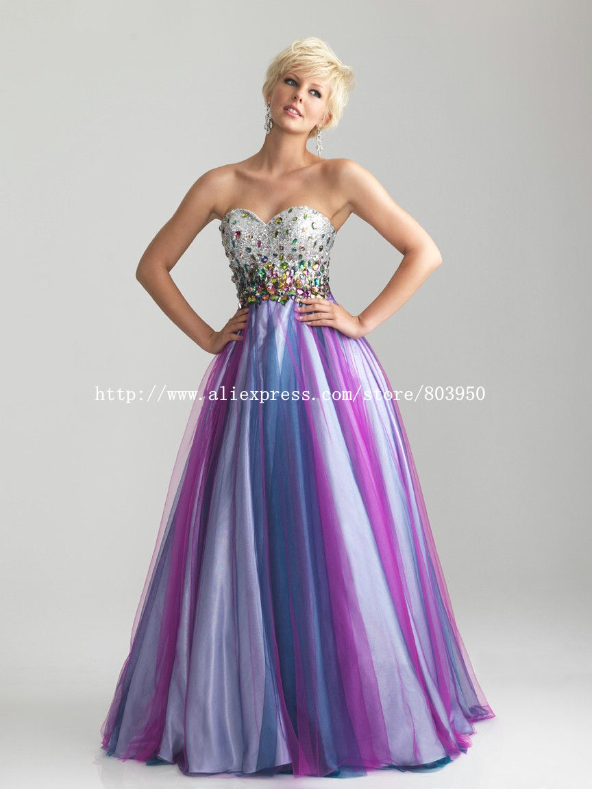 Strapless Sweetheart Silver Sequin Color Crystal Tulle A Line Prom Evening Dresses 2013(China (Mainland))