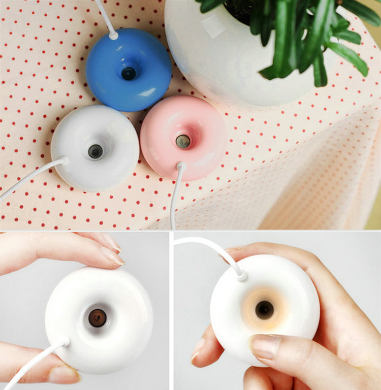 Гаджет  1pc New USB Humidifier Donut Shape Air Essential Oil Purifier Aroma Diffuser For Home Office None Бытовая техника