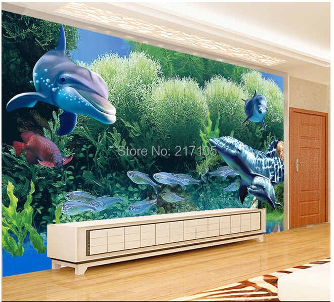 Custom papel de parede infantil aquarium coral tropical for Aquarium mural