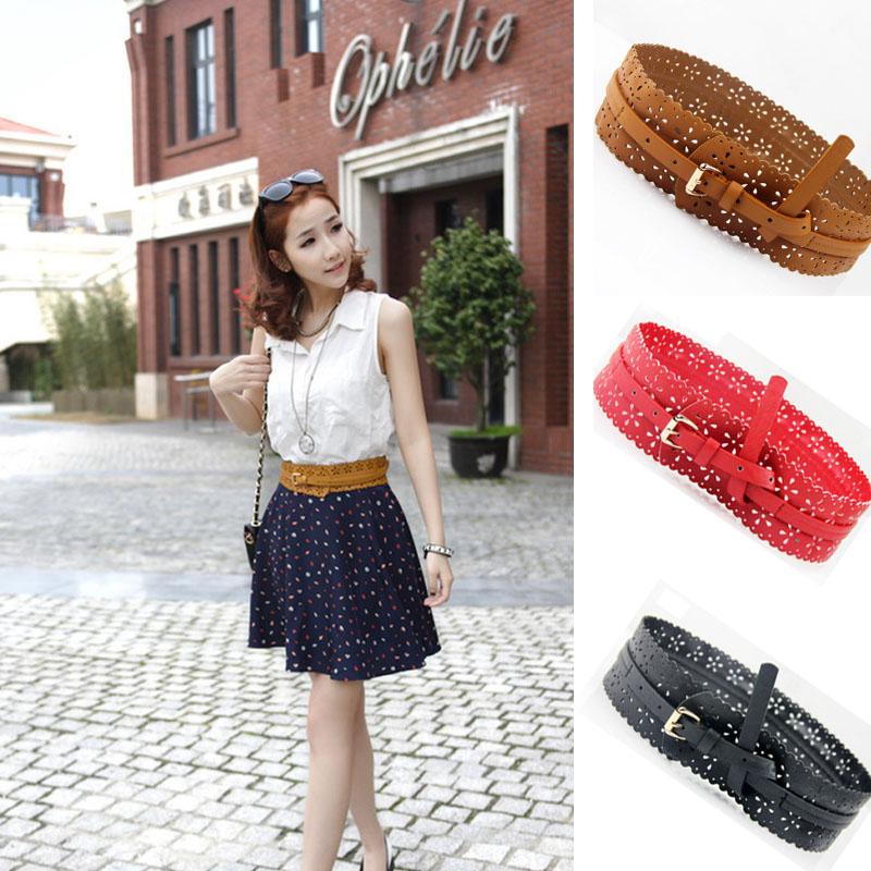 Ladies Black/Red/Camel Waist Belt Fasion Wide PU Leather Hollow Waistband(China (Mainland))