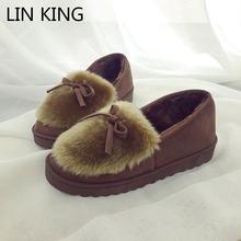 LIN REY Nuevo Tobillo de Las Mujeres Botas Slip-on Top Felpa Ronda Bowtie dedo del pie Gruesa Suela de Nieve Botas de Invierno Cálido Zapatos de Algodón Lindo(China (Mainland))