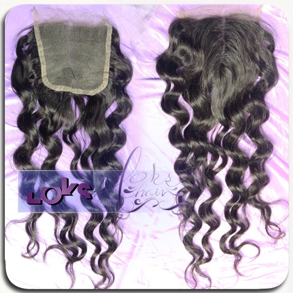 7A Size 4x4 Chinese Loose Wave Middle Parting Human Hair Closure in Color 1b Hand Tied Swiss Lace Closure
