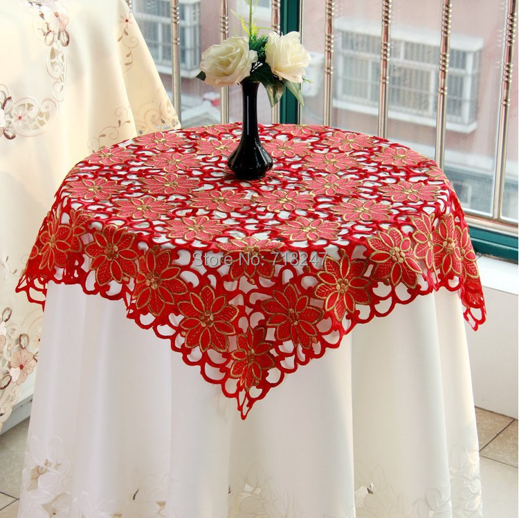 New Hot Sale 85*85cm Christmas Embroidery Satin Tablecloth Red Full Embroidered Xmas Table Linen Cloth Topper Cover YYM766(China (Mainland))