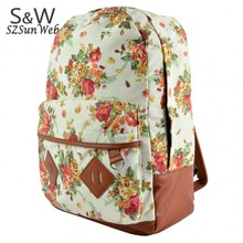 New Girls Canvas Flower Rucksack Backpack School College Travel Cabin Bag 31(China (Mainland))