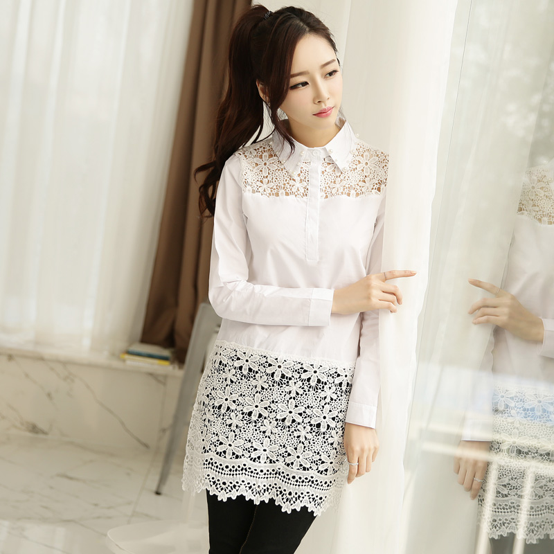 2015 New Korean white dress chiffon blouse shirt lace patchwork long sleeved hollow knitted tops turn-down collar - Daily Necessity Store store