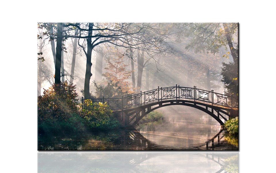 Q720 Morning bridge, river and trees, large HD canvas print painting artwork, wall art picture photo gift for living room