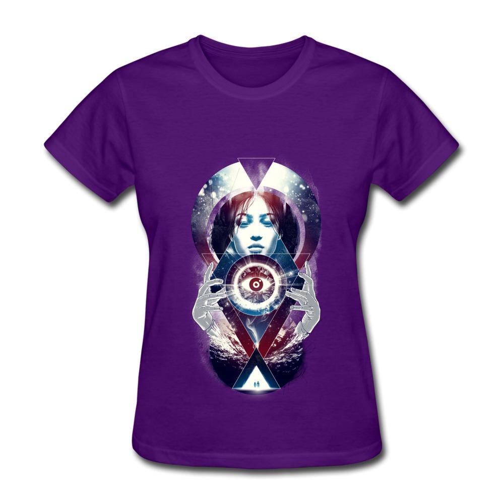 Short Sleeve T Shirt Women Illuminati Pyramid Vision