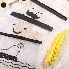 Transparent Moustache Smile Office Cosmetic Make Up Pencil Bag Pouch Case Cute