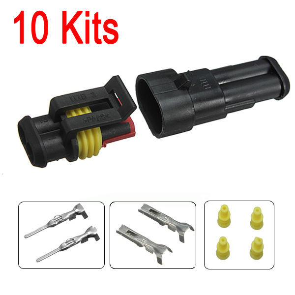 New 10sets New Car Part 2 Pin Way Sealed Waterproof Electrical Wire Auto Connector Plug Set(China (Mainland))