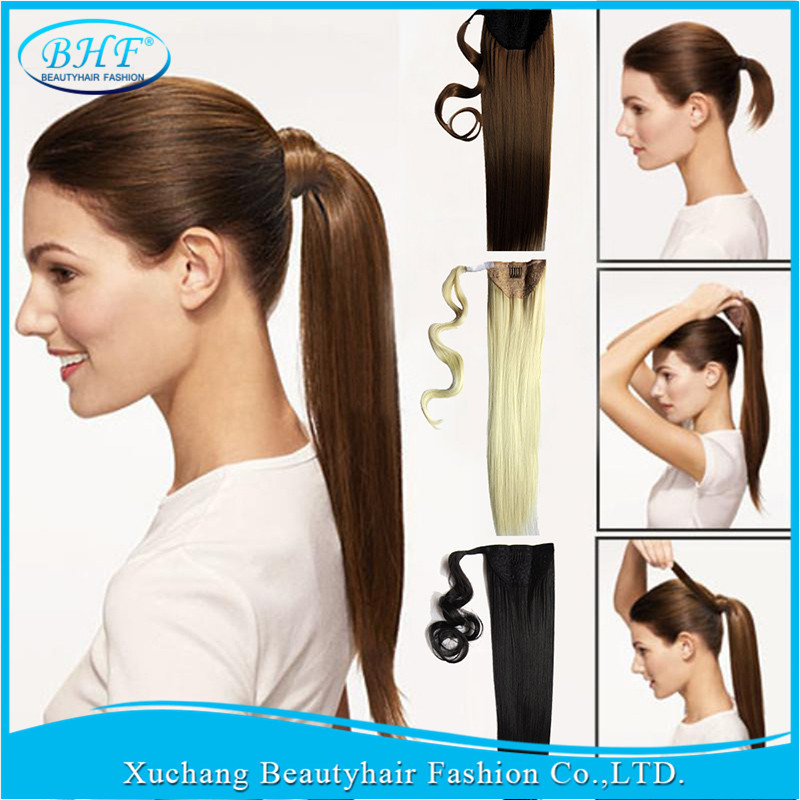 Straight Pony Tail Clip Hair Pure Color Ponytail Natural Extensions Beauty Wrap Around Human Fast Ship