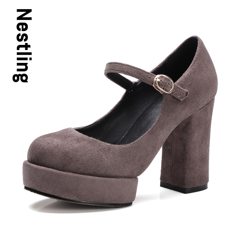 Nestling New 2017 Women Party Dress Shoes Spring Autumn Kid Suede Women Pumps Sexy Ankle Strap High Heels Platform Shoes Woman(China (Mainland))