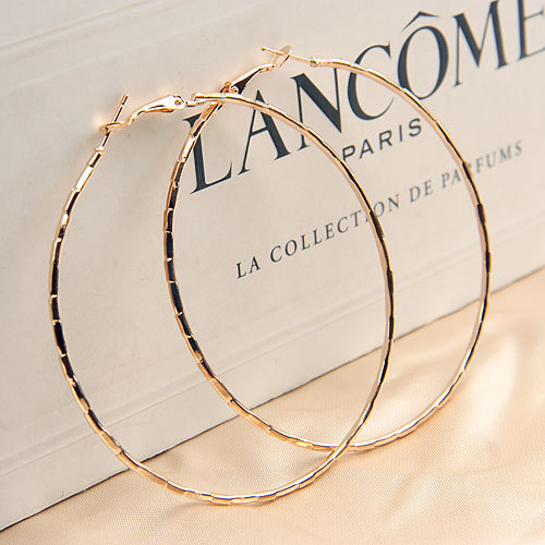Hot Sale Simple Designed Fashion Rose Gold Plated Big Hoop Earring For Women Gift Statement Jewelry Female Earrings(China (Mainland))